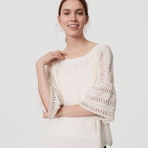 NWT LOFT white lace bell sleeve blouse
